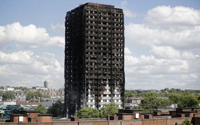 Grenfell Tower, one day after the 2017 fire (Credit: Getty Images)