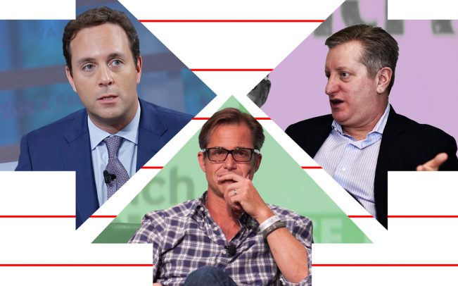 Left to right: Former Zillow CEO Spencer Rascoff, Zillow CEO Rich Barton, and Steve Eisman (Credit: Getty Images and JD Lasica via Flickr)
