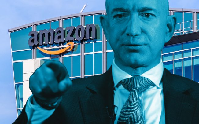 Jeff Bezos and Amazon HQ in Silicon Valley (Credit: Getty Images)