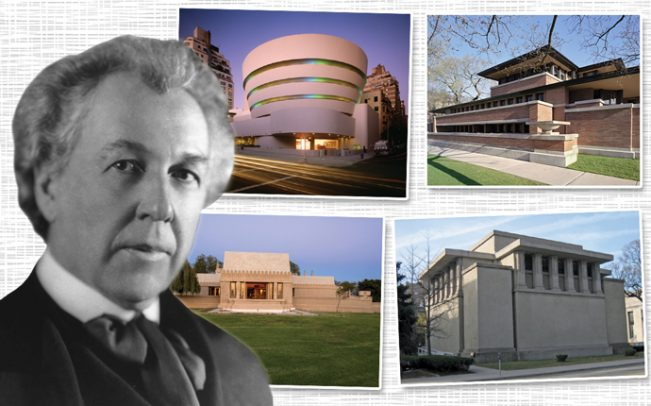 Frank Lloyd Wright with the Guggenheim Museum, Hollyhock House, Unity Temple, and Robie House