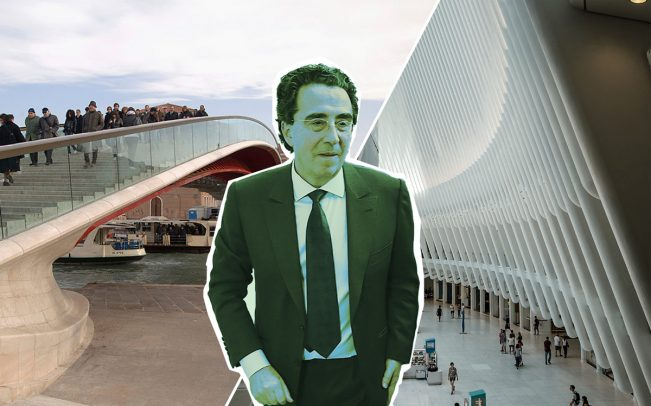 Santiago Calatrava with the Constitution Bridge in Venice and the Oculus (Credit: Getty Images)