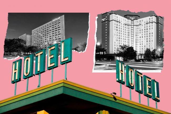 Hotels in trouble: the Hilton Houston Post Oak (left) saw its value cut in half and is in foreclosure, and the Residence Inn Arlington Pentagon City is set to be torn down and turned into part of Amazon's HQ2. (Photos via Hilton; Marriott; iStock)