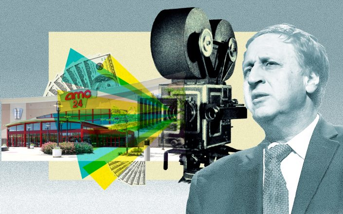 AMC Theater CEO Adam Aron (Getty; iStock/Photo Illustration by Kevin Rebong)