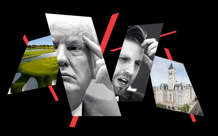 Donald and Eric Trump with the Trump National Doral Golf Club in Florida and Trump International Hotel at Washington D.C. (Getty; Trump Organization)