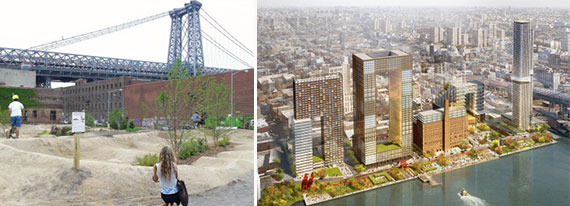 From left: Havemeyer Park (Photo courtesy of Capital New York) and a rendering of the Domino Sugar Factory site (Photo c/o SHoP Architects and James Corner Field Operations)