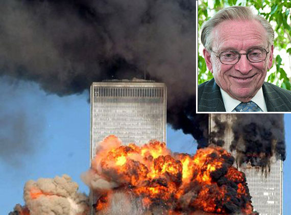 The World Trade Center complex after the Sept.11 attacks and Larry Silverstein (inset)