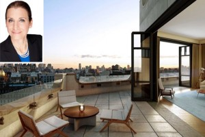 The penthouse at 10 Madison Square West (Credit: VUW Studios) and Donna Olshan (inset)