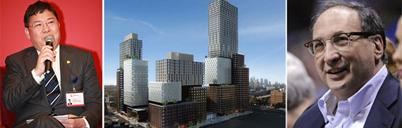From left: Greenland's Zhang Xuliang, an Atlantic Yards rendering (Credit: SHoP) and Bruce Ratner