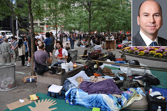 Zuccotti Park during Occupy Wall Street and Dennis Friedrich (inset)