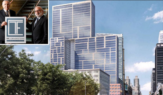 From left: Thomas and Fred Elghanayan and a rendering of 606 West 57th Street