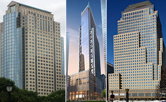 From left: 388 Greenwich Street, 3 World Trade Center and 4 Brookfield Place