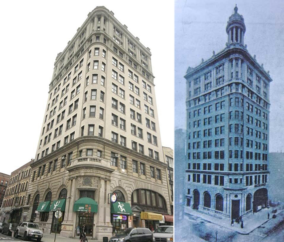 54 Canal Street without (left) and with (right) its dome