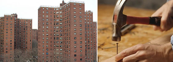 From left: Alfred E. Smith houses in Lower Manhattan and home repair underway