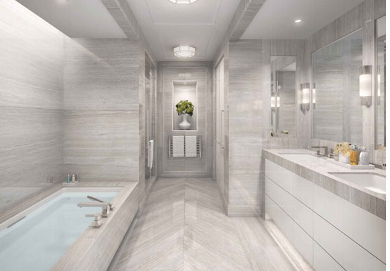 A rendering of a bathroom at 33 East 74th Street