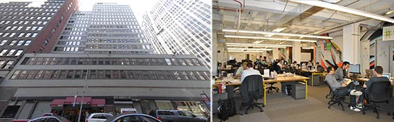 From left: 1407 Broadway and Techstars' workspace in Chicago