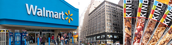From left: Walmart store, 1372 Broadway and KIND snacks