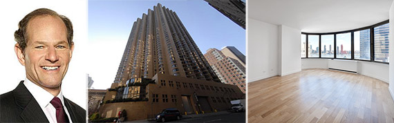 From left: Eliot Spitzer, exterior and interior of 345 East 37th Street