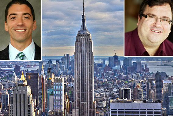 From left: Sacha Zarba, the Empire State Building and LinkedIn co-founder Reid Hoffman