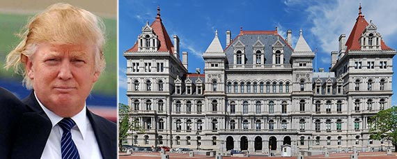 From left: Donald Trump and the New York State capitol building in Albany