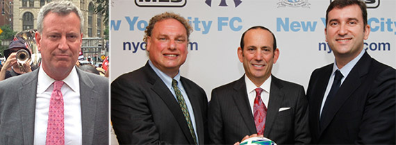 From left: Bill de Blasio, New York Yankees President Randy Levine, MLS Commissioner Don Garber and Manchester City chief executive Ferran Soriano