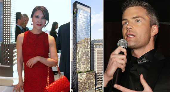 From left: Emma Hao, a rendering of the Baccarat at 20 West 53rd Street and Ryan Serhant