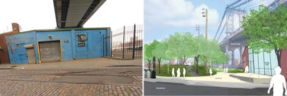 From left: 121 Plymouth Street and a rendering of John Street Park