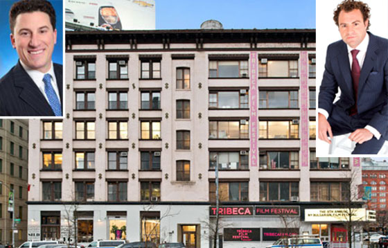 From left: David Schechtman, the Tribeca Film Festival building at 13-17 Laight Street and Zach Vella