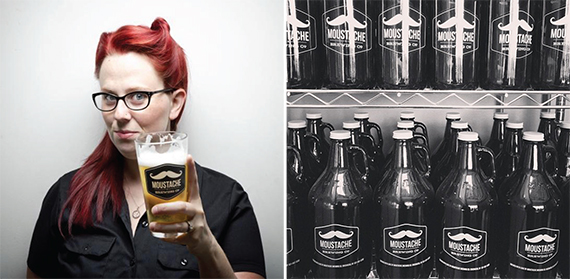 From left: Moustache's Lauri Spitz and growlers of Moustache beer