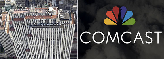 From left: 30 Rockefeller Center topped by the current GE sign and the new Comcast/NBC logo