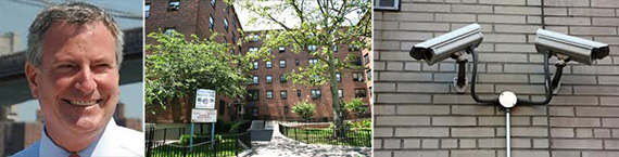 From left: Mayor Bill de Blasio, Boulevard Houses in Brooklyn and security cameras