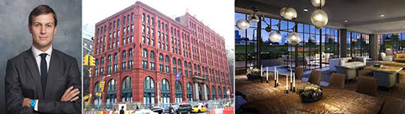 From left: Jared Kushner and the Puck Building at 295 Lafayette Street