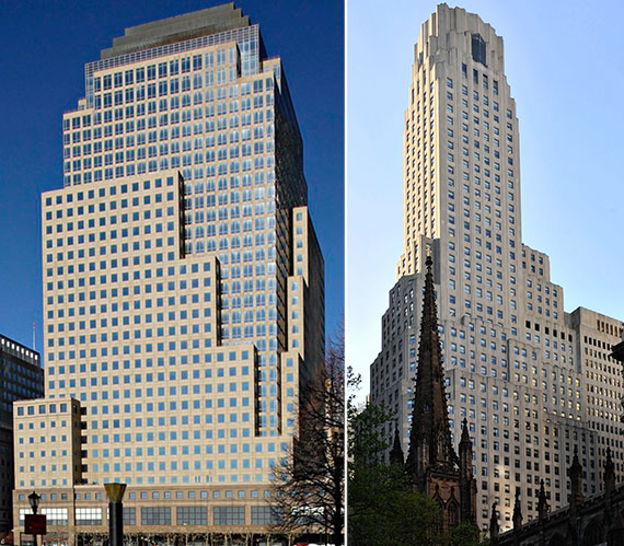 From left: 225 Liberty Street and 1 Wall Street