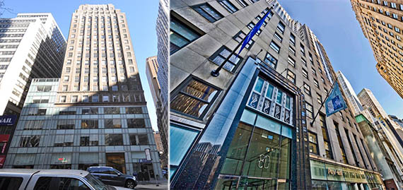 From left: 1412 Broadway and 80 Broad Street