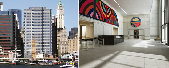 From left: 199 Water Street and lobby