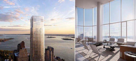 From left: 50 West rendering and interior rendering