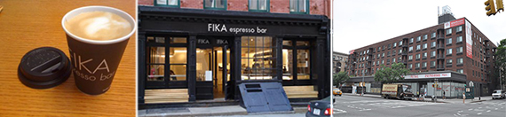 From left: FIKA coffee, a FIKA storefront and 555 Sixth Avenue