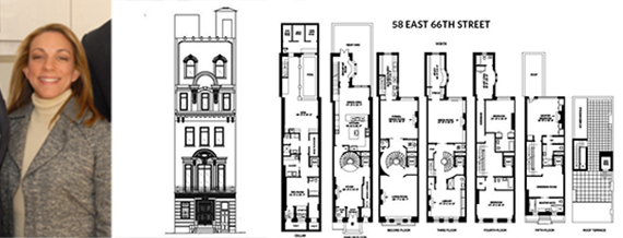From left: Catherine Auerbach and 58 East 66th street drawings