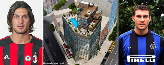 From left: Paolo Maldini, Hudson Square Hotel rendering and Christian Vieri