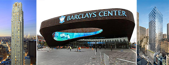 From left: 30 Park Place, Barclays Center and 50 West 47th Street