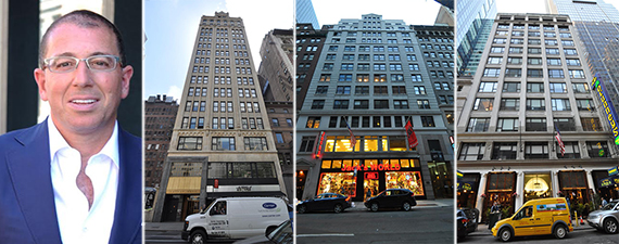 From left: Joseph Sitt, 24 West 40th Street, 45 West 45th Street and 145 West 45th Street
