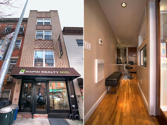 From left: The storefront at 88 Bergen Street and inside the office
