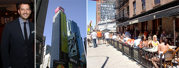 From left: James Gersten, the W Hotel on Times Square and Dos Caminos