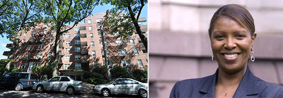 From left: Pelham Parkway Houses in the Bronx and Letitia James