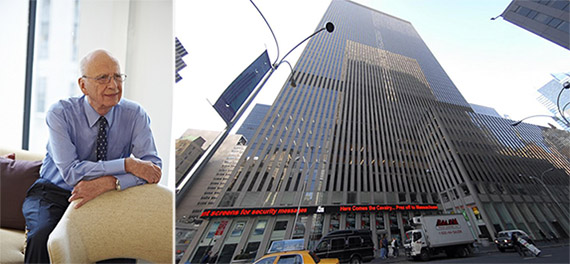 From left: Rupert Murdoch and 1211 Sixth Avenue