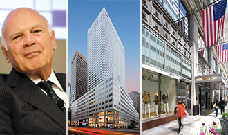 From left: Vornado CEO and chairman Steven Roth, 666 Fifth Avenue and 100 West 33rd Street