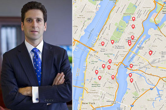 State Superintendent Benjamin Lawsky and a map of Airbnb rentals in New York City
