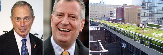 From left: Michael Bloomberg, Bill de Blasio and the High Line in Chelsea, Manhattan