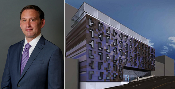 HAP's Eran Polack and a rendering of the West 187th Street development