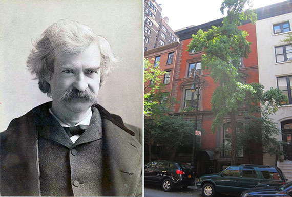From left: Mark Twain and 14 West 10th Street