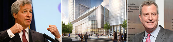 From left: Jamie Dimon, a rendering of Hudson Yards and Bill de Blasio